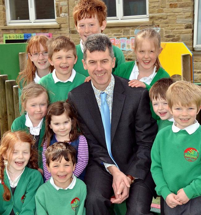 pupils at ashlands primary school in ilkley meet their new headteacher