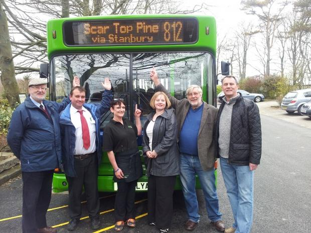 Councillor Graham Mitchell, Transdev Keighley bus driver Paul Webster, Scar Top Pine manageress Maxine Lodge and councillors Rebecca Poulson, Russell Brown and Glen Miller promote the Bronte Scenic Tour service