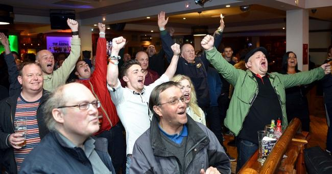 Bradford City fans at the Arena Sports Bar on Saturday