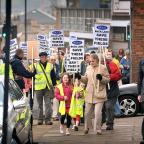 BRAID protesters march to Shipley Town Hall in March last year to hand in a petition to Councillor Roger L'Amie, against development of fields at Buck Lane