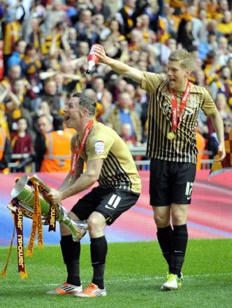 Garry Thompson, left, will be on board with the Bantams in League One next season