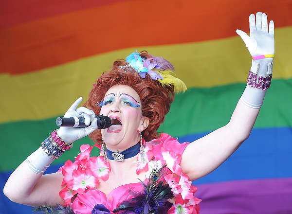 Bradford Pride event host, Mysti Valentine, performing for the crowds at last year's event