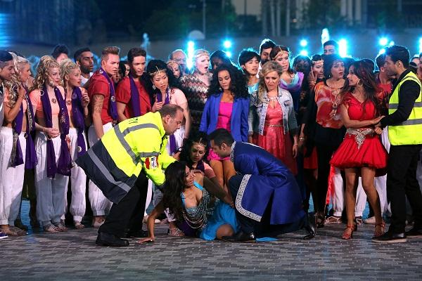 A dramatic scene from the Bollywood Carmen Live production in City Park