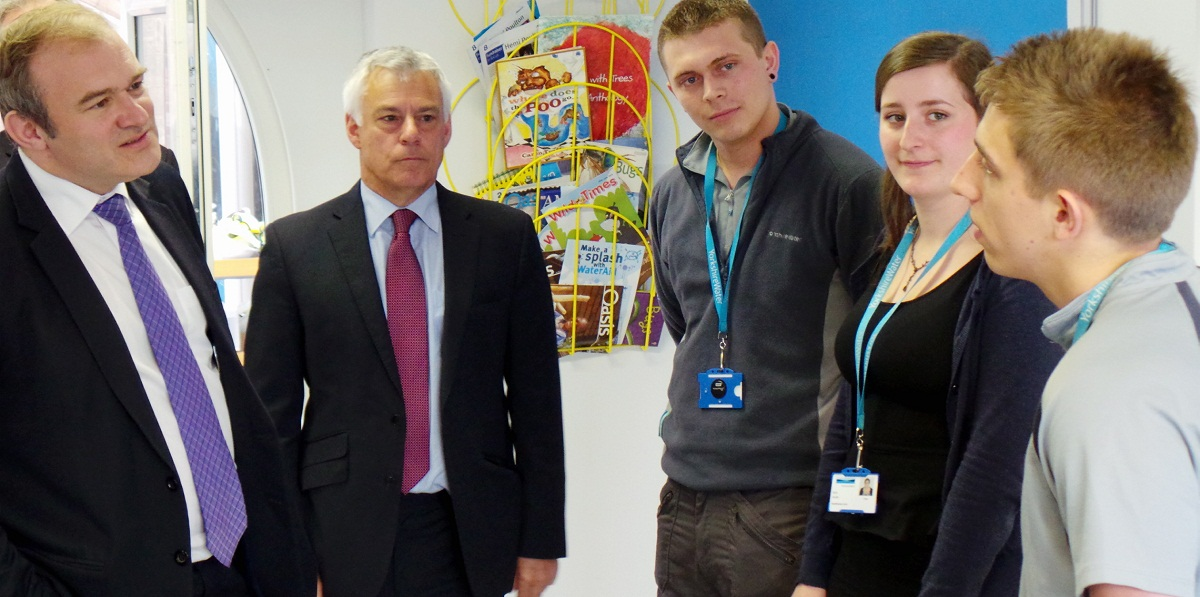 Apprentices at Yorkshire Water's Esholt waste water treatment plant meet the Government's Energy and Climate Secretary Ed Davey with David Ward MP. From left Chris Cooke, 22, Ella Allen, 20, and James Graham, 22, all from Keighley