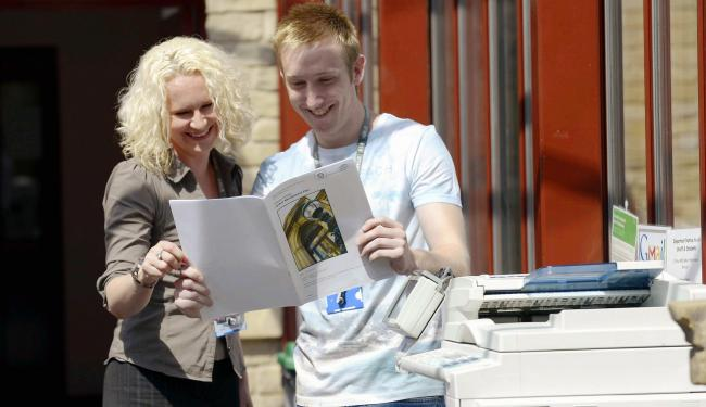Melanie Erangey with former apprentice Jonathon Stockdale, who now works at the college