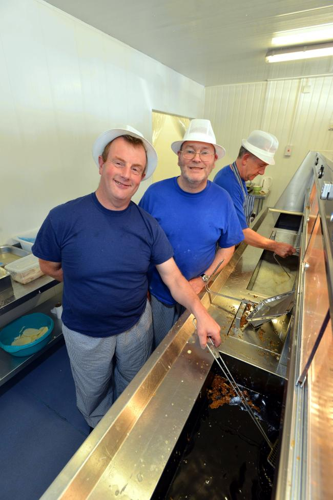 Ian Somers (front), who worked at Harry Ramsden's for 32 years, is now at Central Fisheries in Allerton, co-owned by Phil Lightbody (centre)