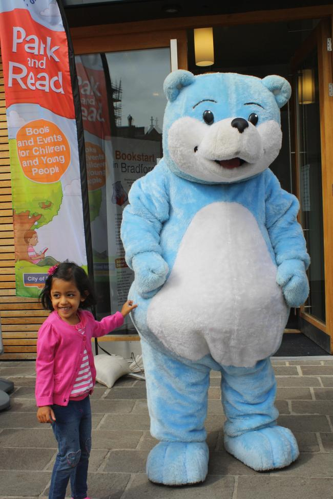 Khalisa Hussain, four, with Bookstart Bear today