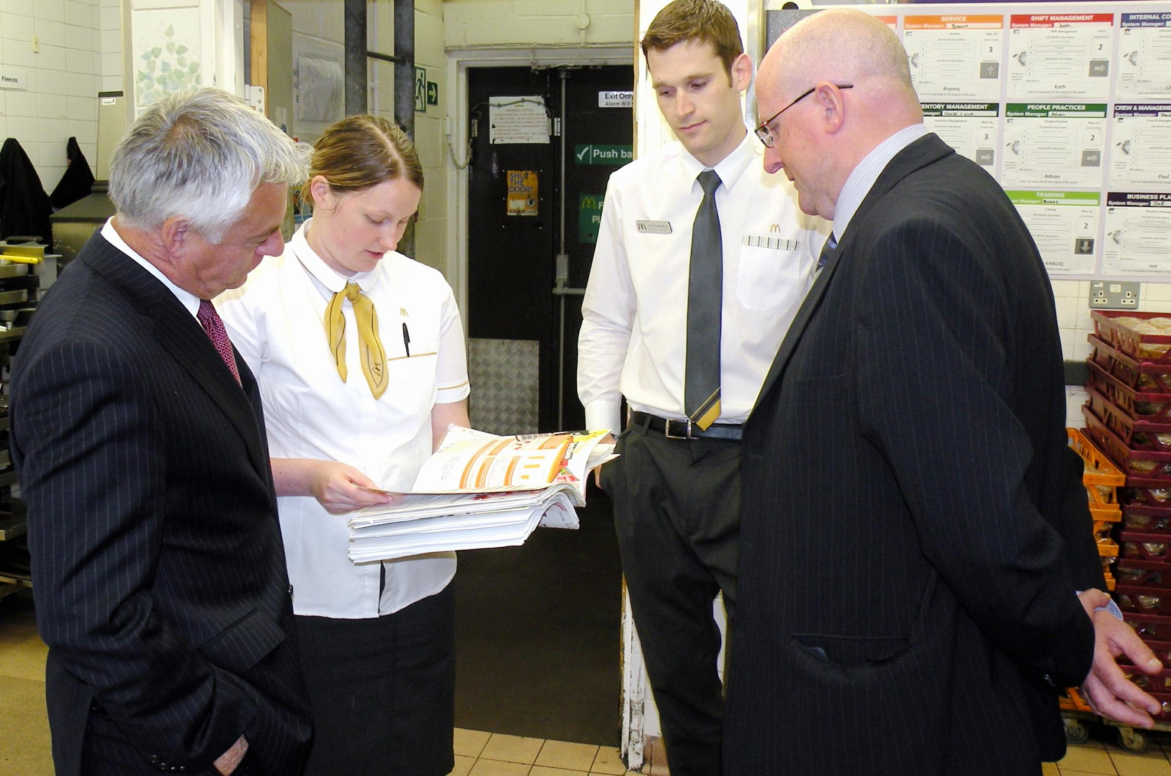 MP David Ward MP, left, and Duncan Taylor discuss the McDonald's Apprenticeship scheme