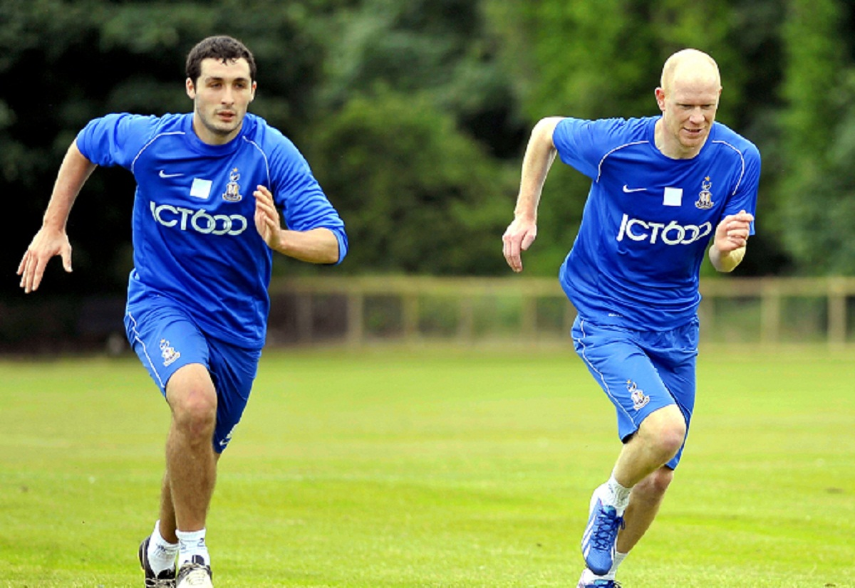 New signing Jason Kennedy with Carl McHugh, left, at pre-season training at Apperley Bridge yesterday