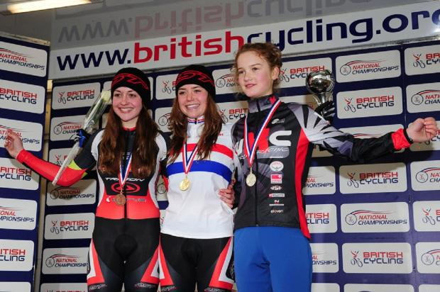 Abby-Mae Parkinson, centre, after victory in the under-16 female youth race at the 2013 British National Cyclo-Cross Championships at Peel Park in Bradford