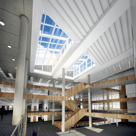 An artist's impression of the interior of the new Bradford College building