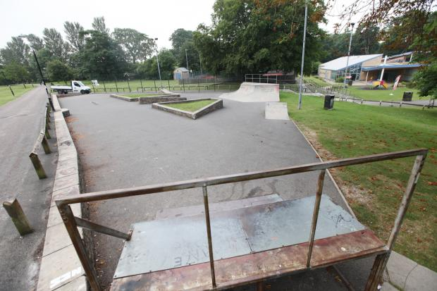 The skate park in Aireville Park, Skipton