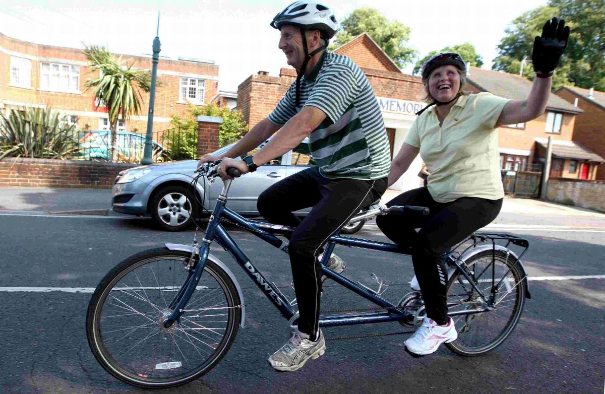 Bradford Telegraph and Argus: Barbara Russell on the tandem bike with Steve Shuck