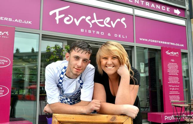 Nathan Johnson, 17, and Roslyn Higgs, 23, at Forster's Bistro and Deli