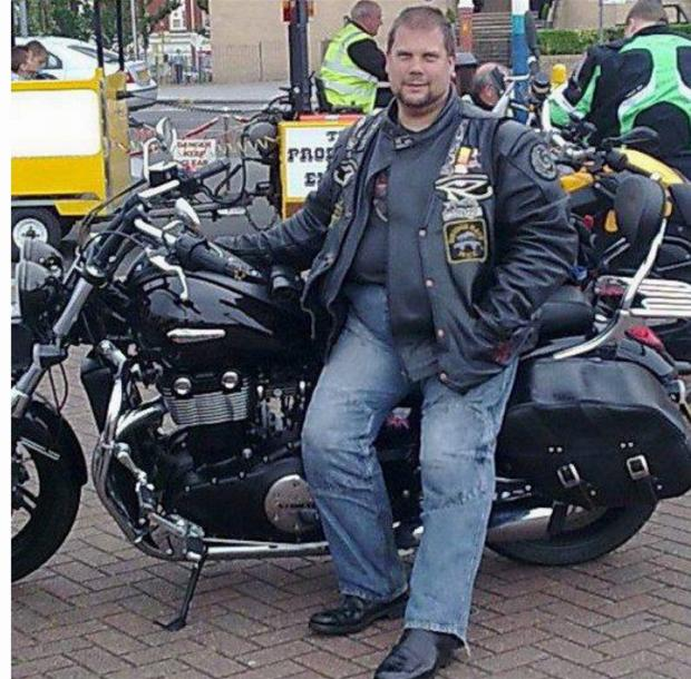 Scores of bikers accompanied the hearse of Mark Bennett