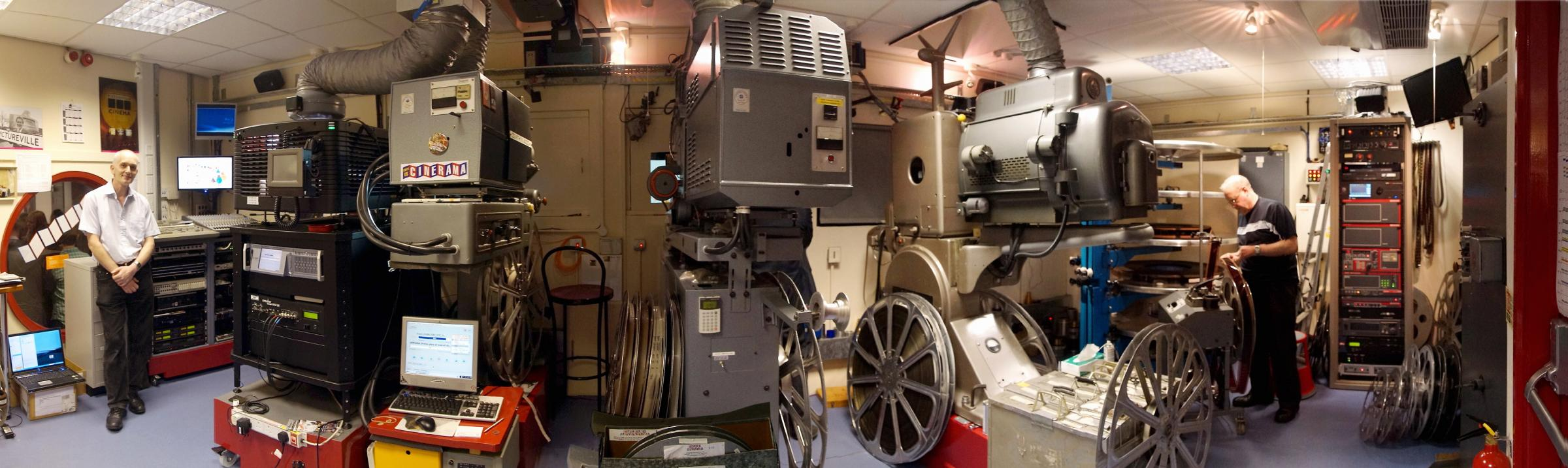 The projection room at the Cinerama cinema at the National Museum in Bradford