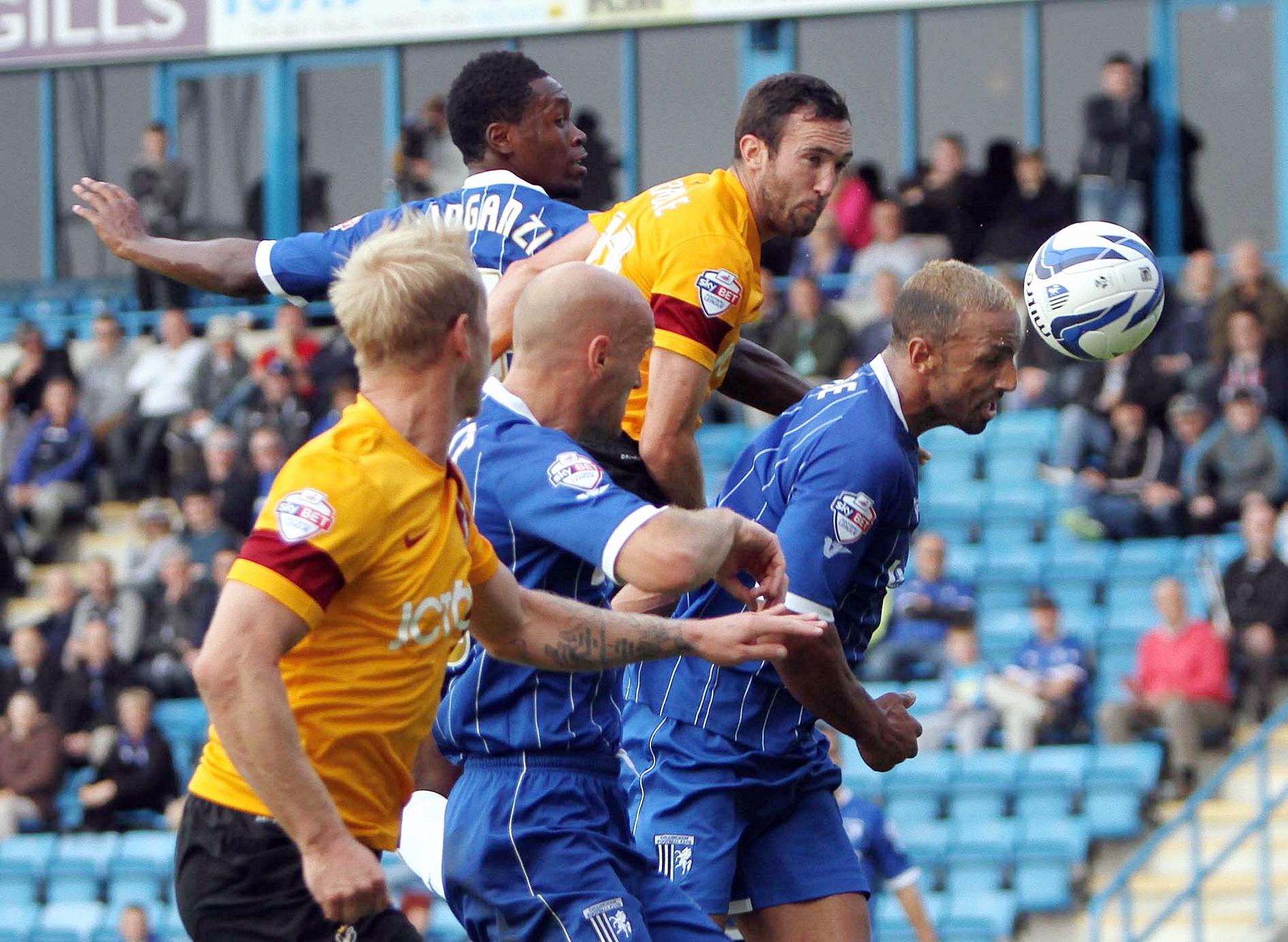 Rory McArdle gets in a header during last weekend's win at Gillingham