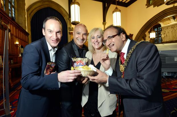 The launch last week of a Chicken Kahari crisp to back this year's bid, from left, Kevin Butterworth of Seabrook, Shabir Hussain from Akbar's, Patricia Tillotson of the Council and Lord Mayor Khadim Hussain