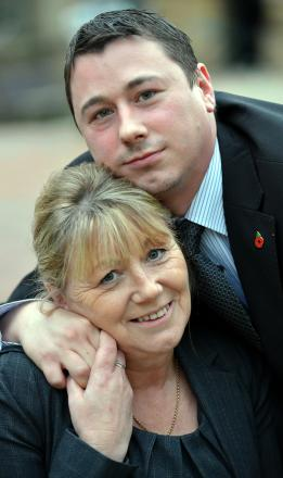 Karen Barnes and son  Christopher Barnes, after the inquest into the death of Peter Barnes