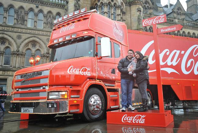 the coca cola christmas truck in happier times - Coca Cola Christmas Commercial