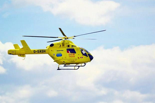The man was taken by air ambulance to a specialist burns unit at Pinderfields Hospital in Wakefield