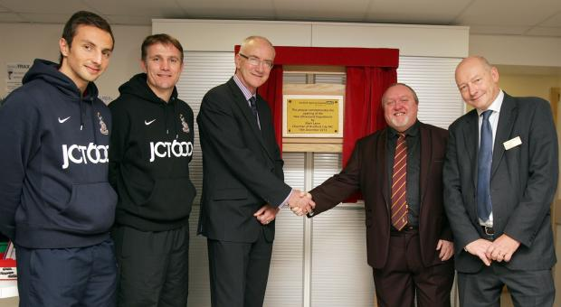 Bradford Telegraph and Argus: From left, Bantams player Raffaele De Vita, manager Phil Parkinson, NHS Foundation Trust chairman David Richardson, Mark Lawn and Chief Executive of the Foundation Trust Bryan Millar opening the new ultrasound unit at Bradford Royal Infirmary