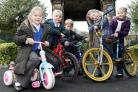 ON SHOW: Oakworth Primary School pupils (from left) Freya Kinnear, Thomas Rowell, Harvey Blacka, Isabel Walton and Megan Woollett with bikes which will form part of a display in Holden Park