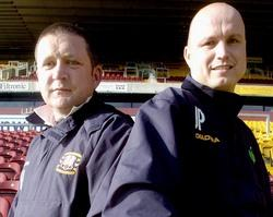 Youth team manager Jon Pepper, right, and development officer Peter Horne, left, claim standards in the nine to 12-year age range have improved significantly in recent years