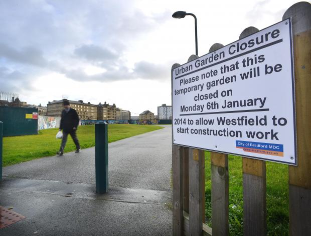 Bradford Telegraph and Argus: Signs announcing the closure of Bradford Urban Garden have gone up today