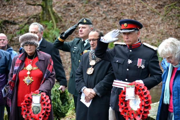 Bradford Telegraph and Argus: Brigadier-General Matthew Overton (centre back) at the service