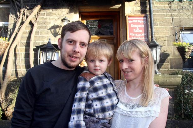 Bradford Telegraph and Argus: Old Registry owners Peter and Leanne Quinn with their son Bailey, two
