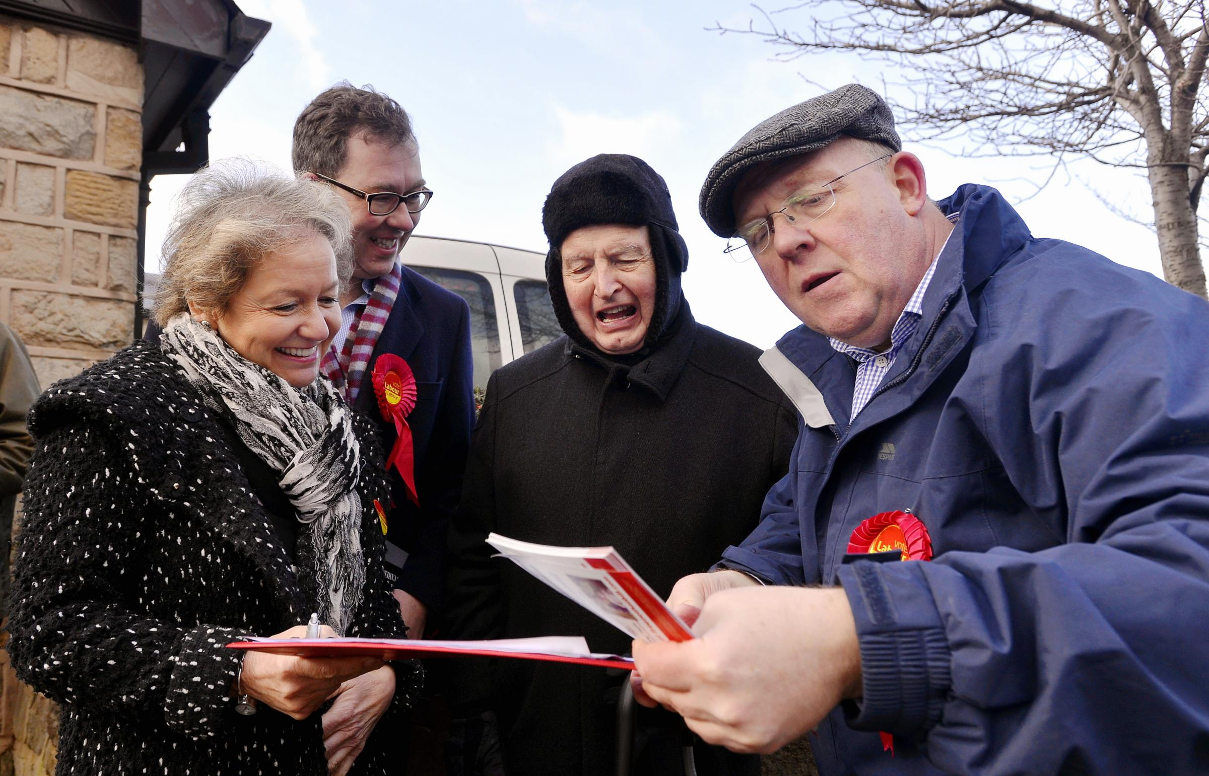 From left, Labour Party chief whip Rosie Winterton and prospective parliamentary candidate Jamie Hanley, with Wallace Cooper and David Bowe, campaigning in Guiseley against the rising cost of energy prices