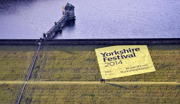 The banner at Lower Laithe Reservoir near Stanbury which features on the Tour de France route