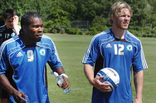 GOAL MACHINES: Aaron McLean, left, with Craig Mackail-Smith during their time together at Peterborough, when the prolific pair blasted 96 goals between them in just two seasons