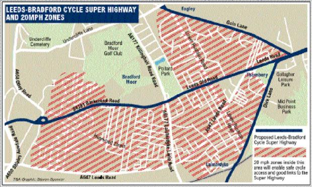 Bradford Telegraph and Argus: The route of the cycle super-highway