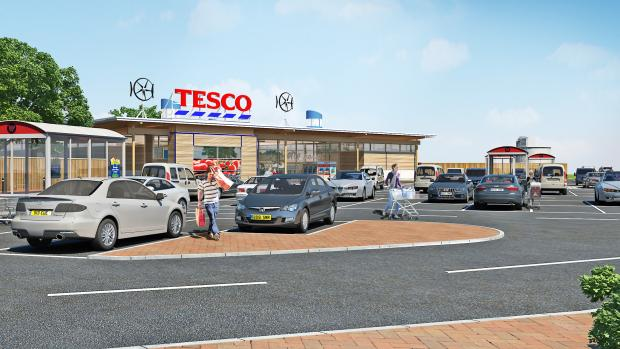 An artist's impression of the plans for a Tesco in Silsden