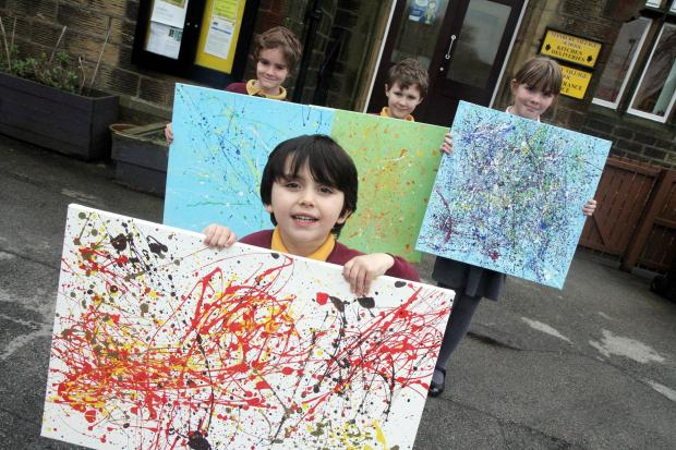 Some of the pupils with their artwork