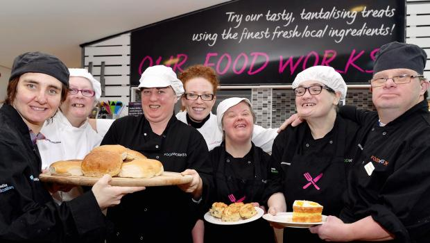 Staff at The Foodworks cafe above the Kala Sangam arts company centre in St Peter's House, include (from left) Louise Mirfield, Julie Diamond, Anne-Marie Naylor, Kerrie-Lee Barr, Jane Standon, Leslie Nash, and Nigel Halliday.