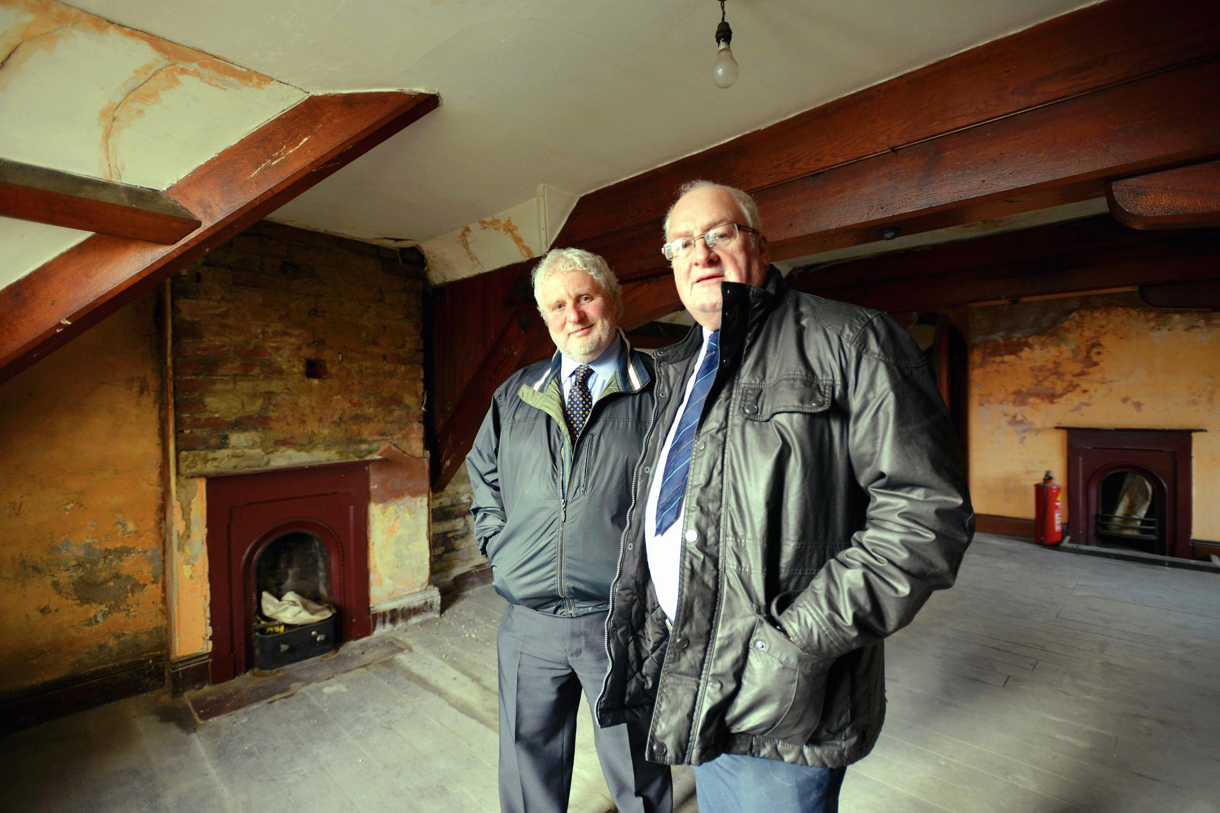 Coun Paul Cromie (left) and Coun Michael Walls upstairs in the former Nat W
