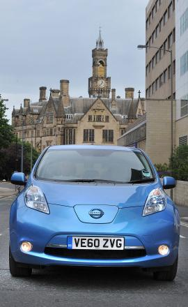 An electric Nissan Leaf being trialled by Bradford Council in June 2011.
