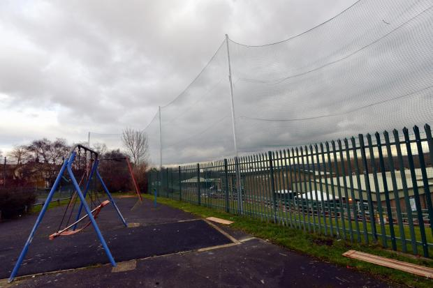 The new netting at Carrwood Primary School that has upset nearby residents