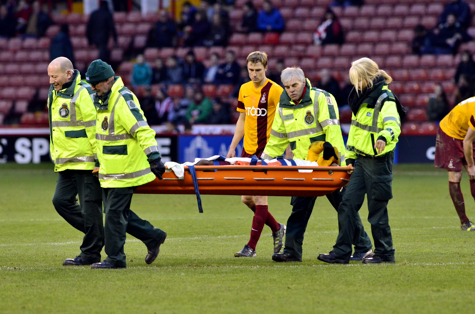 Kyel Reid, pictured being stretchered off at Bramall Lane, is out for the season