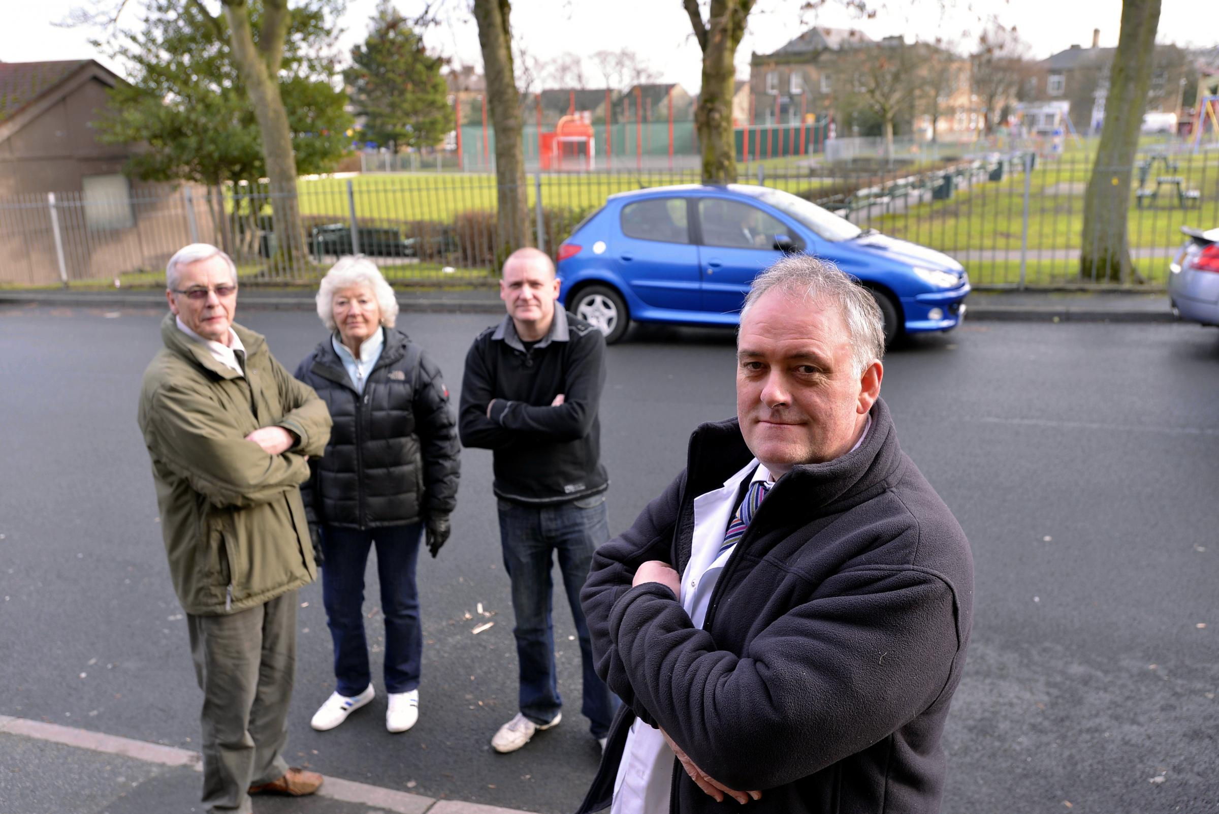 Clayton villagers are (from left) Ian and Susan Hepton, Simon Greaves and John Summers demand action