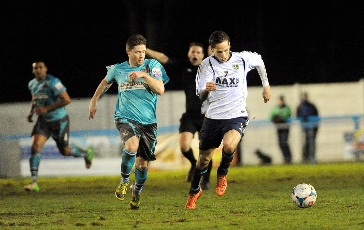 Wayne Brooksby, right, netted Guiseley's killer third goal following a classic counter-attack
