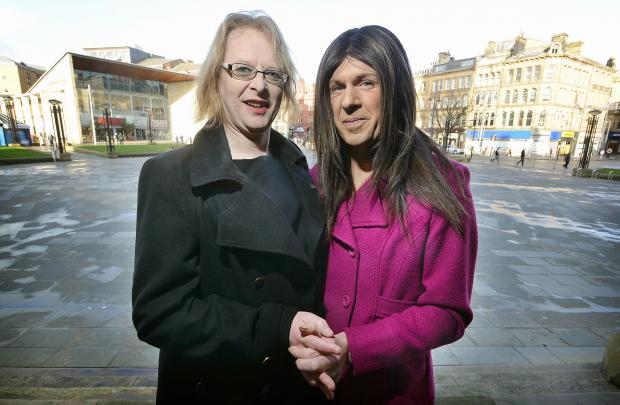 Katie Ainsworth (left) and her partner Sally Adams who are preparing to become Bradford's first transgender wedding couple at a ceremony in the city