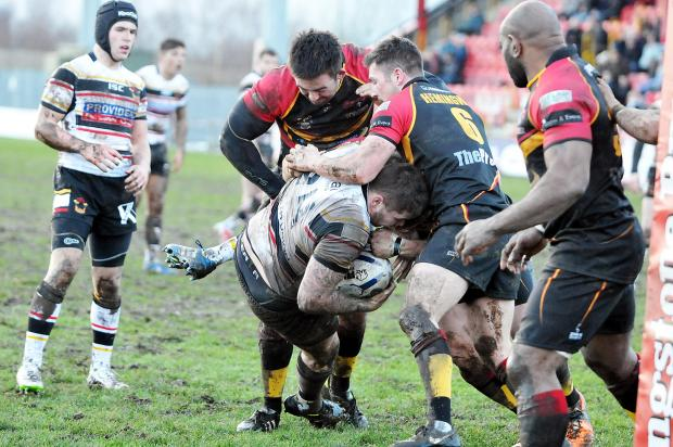 Action from today's friendly clash at Dewsbury