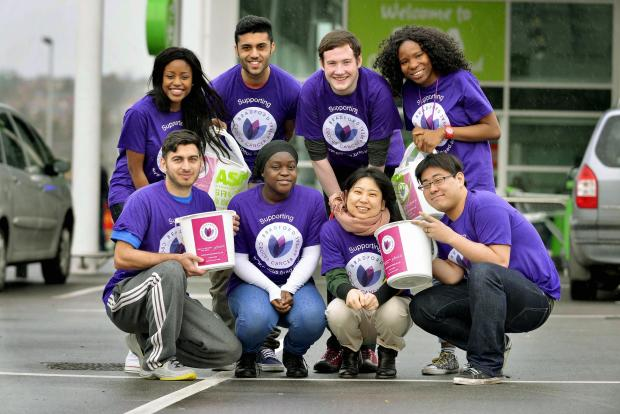 TEAM: Pictured (back row from left) Joanne Tongola, Bilal Tahir, Mitch Long and Ibukun Oyegbesan and (front row from left) Imran Khan, Jelila Efunkunle, Yuka Yonega and Naoki Ikeda at the bag pack