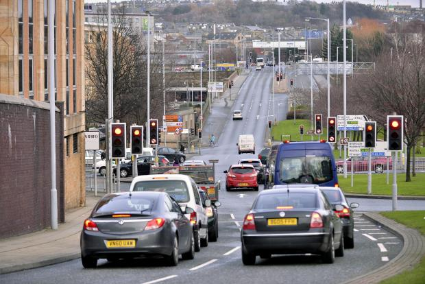 The junction at the bottom of Manchester Road where the traffic lights stopped working
