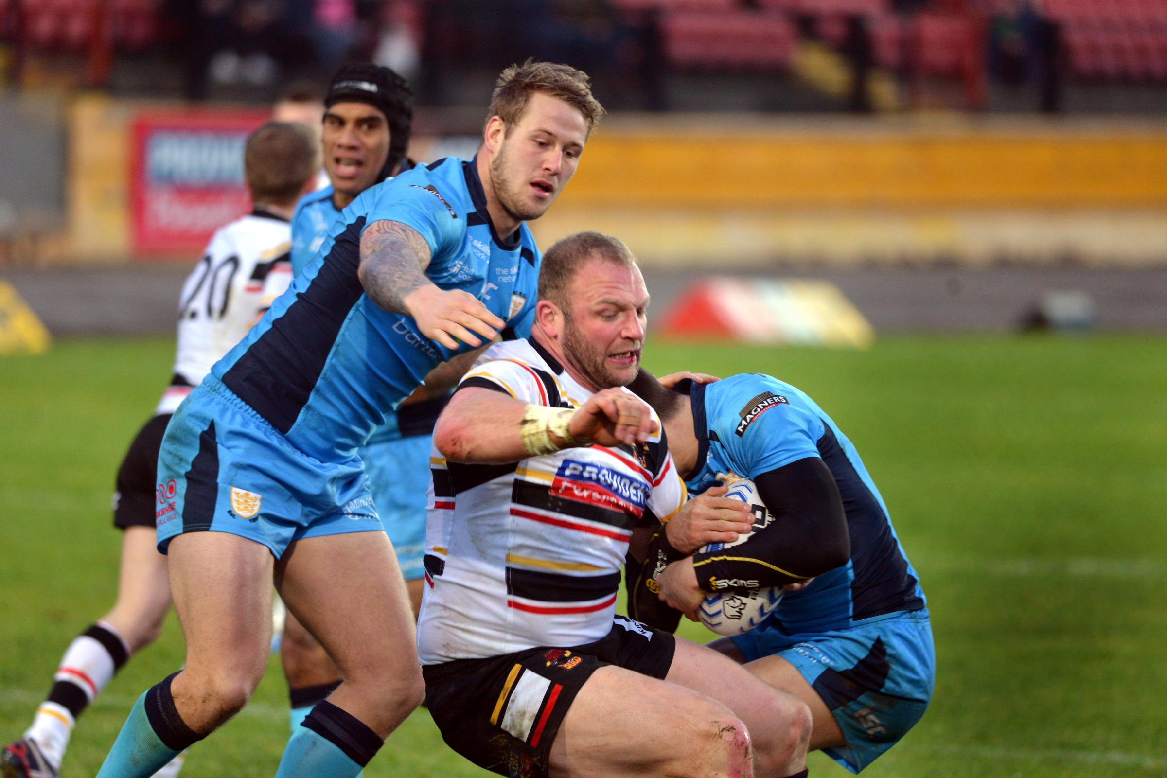 PLAYING ON: Garreth Carvell, pictured during his first game for Bulls against Hull, wants to extend his career as long as possible
