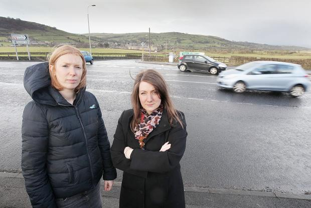 Cononley and Farnhill councillors Lois Brown (left) and Gemma Harling at the junction